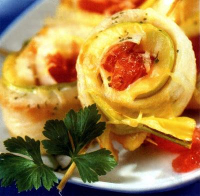 Рыбные рулеты с грейпфрутом и сыром