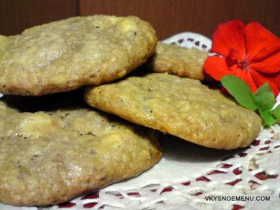 Вкусное овсяное печенье с кофе и белым шоколадом