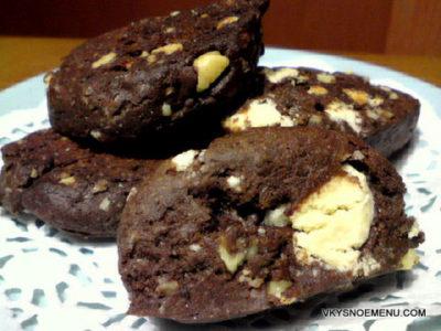 Шоколадное печенье с грецкими орехами и и кусочками белого шоколада а-ля скотти