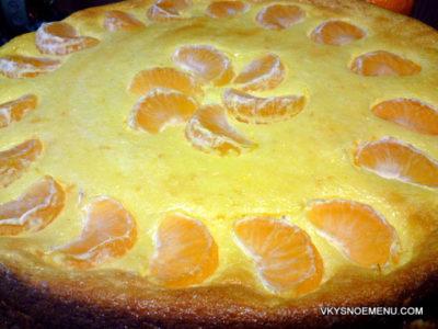 Вкусная творожная запеканка с мандаринами и ванилью